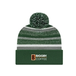 Green Knit Hat With Pom and Fleece Lining